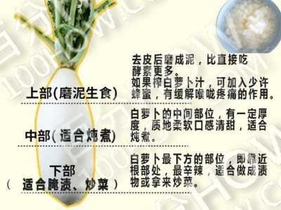 白萝卜的吃法 白萝卜的不同部位适合不同的做法